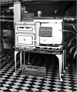 An old photograph of Chambers Appliances first insulated oven