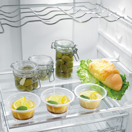 Chambers Appliances refrigerator with food items inside
