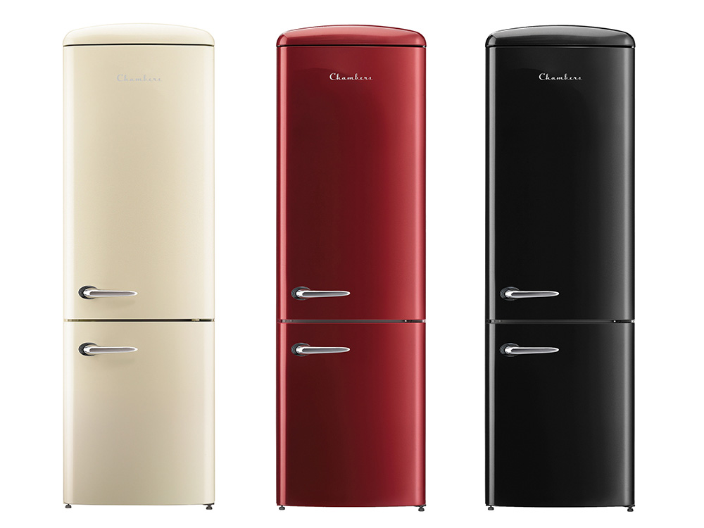 Chambers Retro Refrigerator Champagne Black and Bordeaux